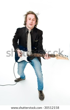 Young man playing electro guitar, isolated on white background - stock photo