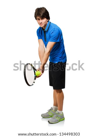 Young Man Playing Tennis Isolated On White Background - stock photo