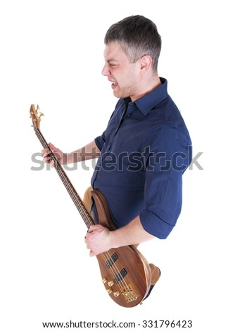 Young man playing the guitar. Isolated over white - stock photo