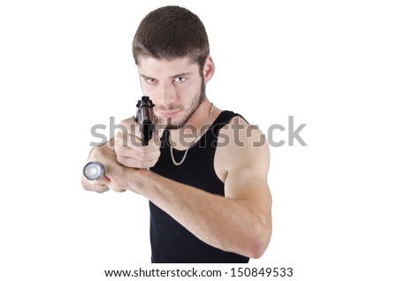 Young man pointing gun and flashlight, isolated on white. - stock photo