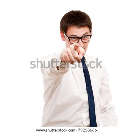 Young man pointing. Isolated over white. - stock photo