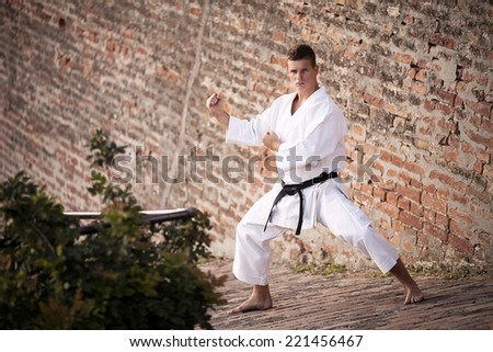 Young man practicing martial arts in front of a brick wall - stock photo