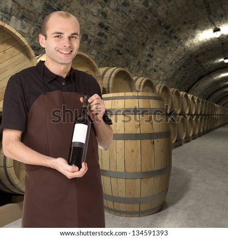 Young man presenting a wine bottle in the cellar - stock photo