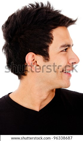 Young man profile - isolated over a white background - stock photo