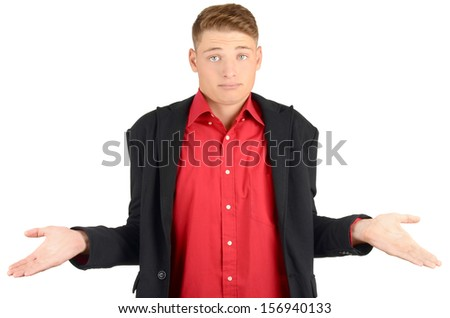 Young man raising his hands wondering. Man with different  facial expressions. Isolated on white background. - stock photo