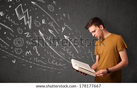Young man reading a book while hand drawn sketches coming out of the book - stock photo