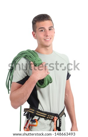 Young man ready to climb isolated on a white background               - stock photo