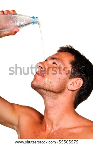 young man refreshing his face isolated on white - stock photo