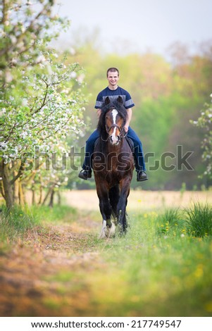 Young man riding a horse around the apple orchard in spring - stock photo