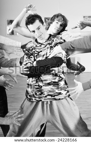 young man scream with tattoo arrest problem criminal police - stock photo