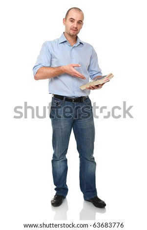 young man show his book isolated on white background - stock photo