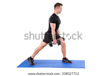 Young man shows starting position of Dumbbell Split-Squat workout, isolated on white - stock photo