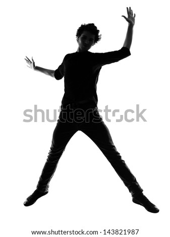 young man silhouette in studio isolated on white background - stock photo