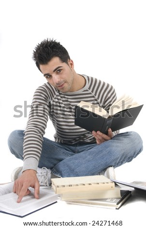 young man sitting in the floor studying in white - stock photo