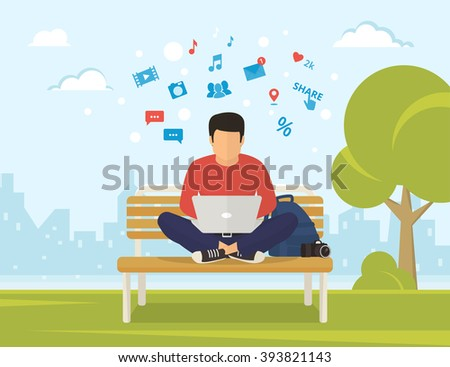 Young man sitting in the park on the bench and working with laptop. Flat modern illustration of social networking and texting to friends - stock photo