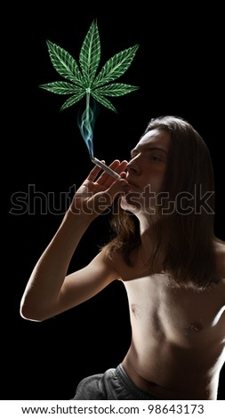 Young man smoking joint and cannabis-shaped smoke is rising from it - stock photo