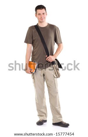 Young man standing with book and bag, isolated on white - stock photo