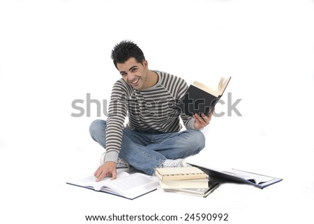 young man studying on the floor - stock photo
