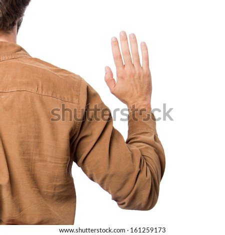 Young man swearing - stock photo