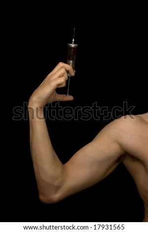 Young man taking illegal dope. - stock photo