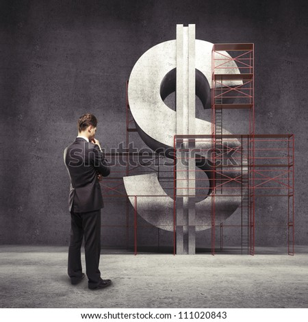young man thinking about business - stock photo