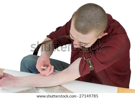 Young man to give an injection himself on white - stock photo