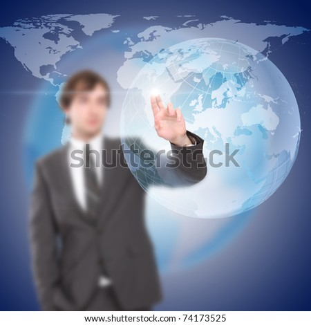 young man touches a virtual surface. Illustration - stock photo