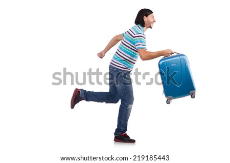 Young man travelling with suitcases isolated on white - stock photo