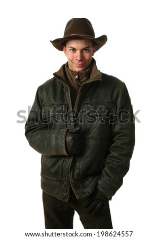 Young man wearing winter clothes isolated on white - stock photo