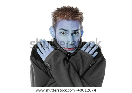 Young man white adult male crosses his arms and shivers with his turtleck sweater isolated on white background. - stock photo