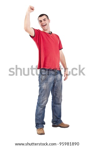 Young man winning isolated over a white background - stock photo