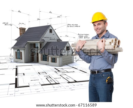 Young man with a safety helmet, a tape measure, holding lots of rolled up blueprints with a house project on the background - stock photo