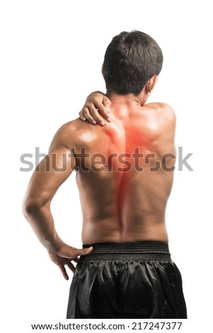 Young man with back pain,,isolated on white background with clipping path - stock photo
