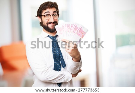 young man with bank notes - stock photo