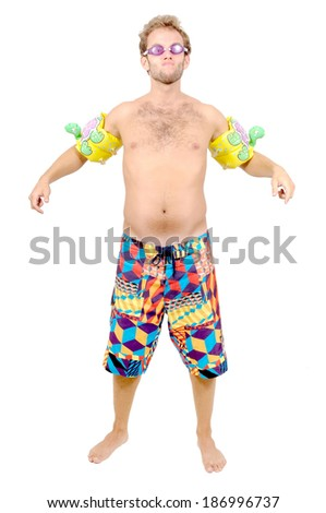 young man with beach shorts - stock photo