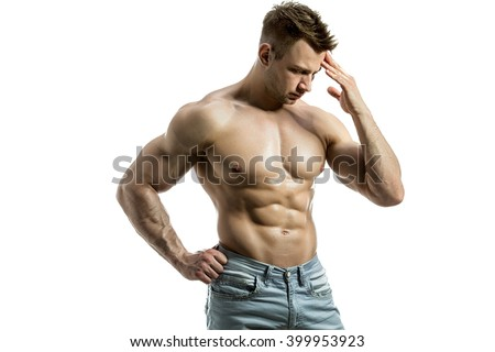 Young man with beautiful physique thinking. Isolate - stock photo