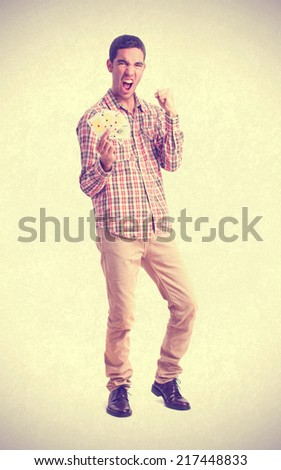 young man with cards - stock photo