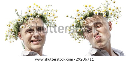 Young man with chamomile diadem - stock photo