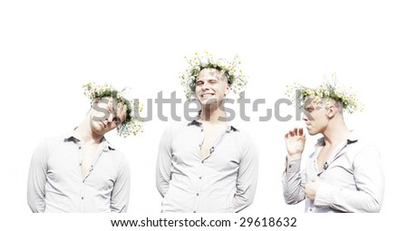 Young man with chamomile diadem. - stock photo