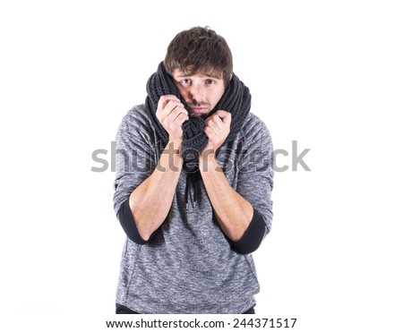 young man with cold - stock photo