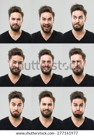 young man with different facial expressions. digital composite image - stock photo
