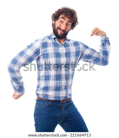young man with force and power - stock photo