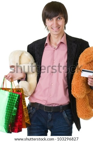 Young man with gifts for valentines day and credit card - stock photo