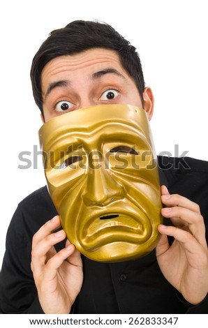 Young man with golden Venetian mask isolated on white - stock photo