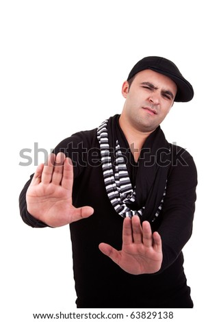 Young man with hands as a sign of removal / negation, isolated on white, studio shot - stock photo