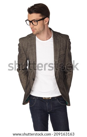 Young man with jacket over white background. - stock photo