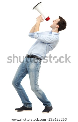 Young man with megaphone - stock photo