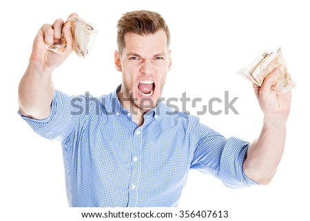 Young man with Money in his Hand screaming - stock photo