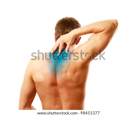 Young man with pain on upper back, isolated on white background - stock photo