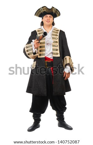 Young man with pistol wearing pirate costume. Isolated on white   - stock photo